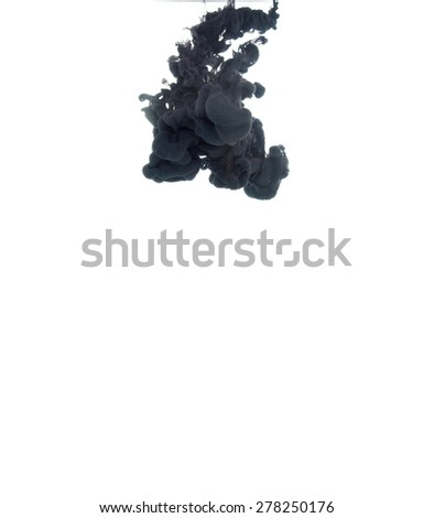 Ink in water isolated on white background. - stock photo