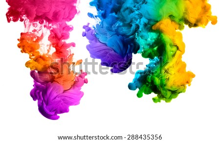 Ink in water isolated on white background. Rainbow of colors - stock photo