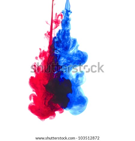 Ink in water with great colors - stock photo