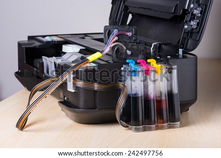 ink-jet printer with ink tank system - stock photo