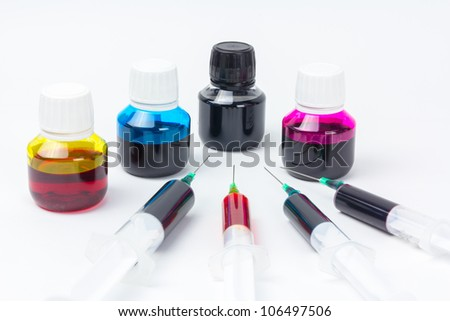 Ink jet refill tools and cmyk ink - stock photo