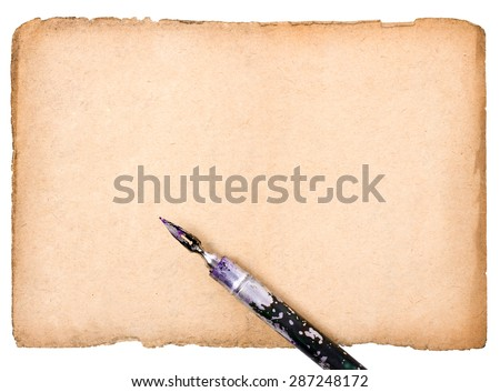 ink pen on old dilapidated piece of paper - stock photo