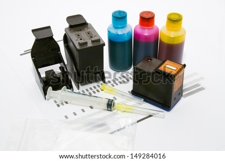 Ink refill set for printer - stock photo