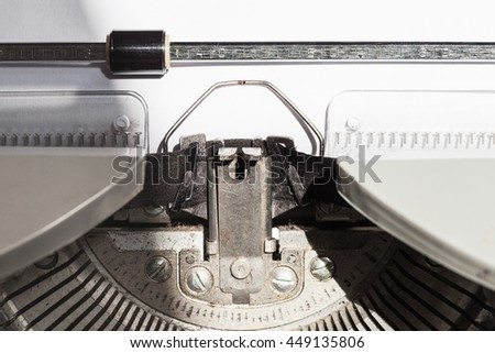 ink ribbon in old typewriter close up - stock photo
