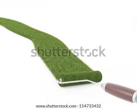 ink roller grass on a white background