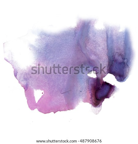 ink splatter watercolour dye purple liquid watercolor macro spot blotch texture isolated on white