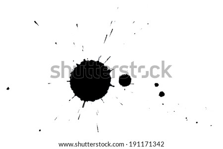 Ink splodges on a white paper - stock photo