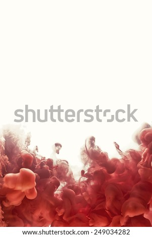 Ink swirling in water, cloud of ink in water isolated on white. Abstract banner paints. Marsala color - stock photo