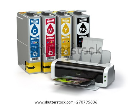 Inkjet CMYK cartridges and printer isolated on white. 3d - stock photo