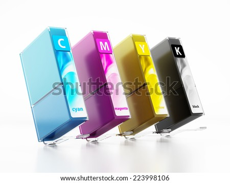 Inkjet printer cartridges isolated on white. - stock photo