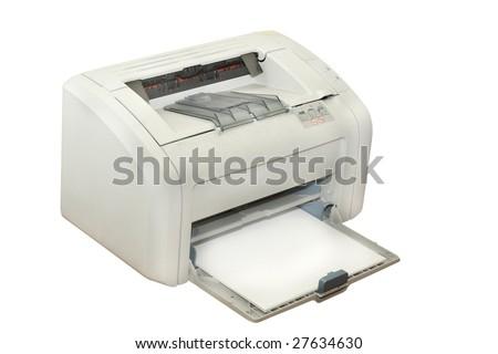 inkjet printer under the white background - stock photo