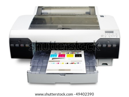 Inkjet printer working as proofer with printed color calibration target - stock photo
