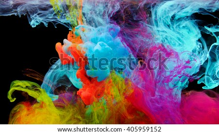 Inks in water, color abstraction, color explosion