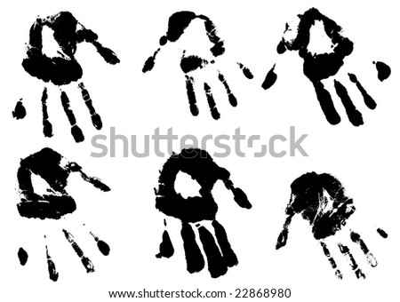 inky hands imprints in both left and right hands - stock photo
