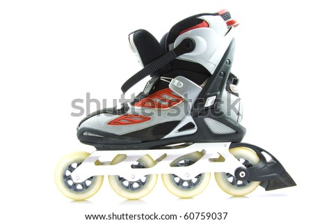 Inline skate with brake isolated over white - stock photo