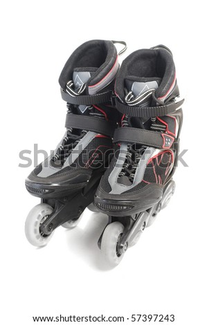 Inline skates isolated over white - stock photo