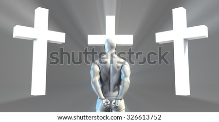 Inmate Convict Prisoner Converting to Christian Faith - stock photo