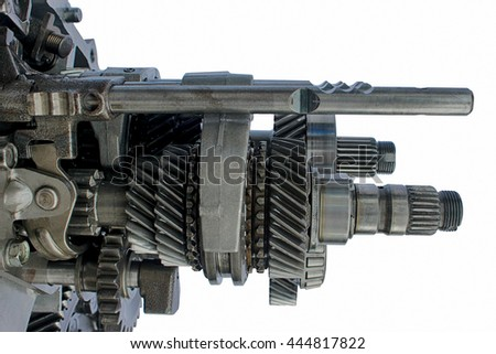 inner automotive gear box on isolated background - stock photo