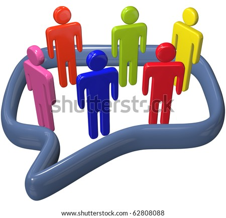 Inner circle people in colors talk social media inside a big 3D speech bubble - stock photo