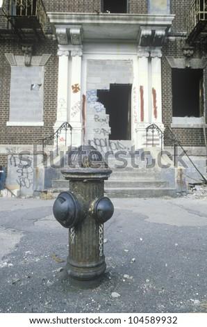 Inner city urban decay, South Bronx, NY City - stock photo