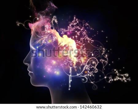 Inner Colors series. Background design of female head drawing and decorative elements on the subject of design, imagination, and creativity - stock photo