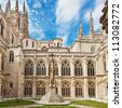 Inner court of the cathedral in Burgos, Spain, which is under protection of UNESCO - stock photo