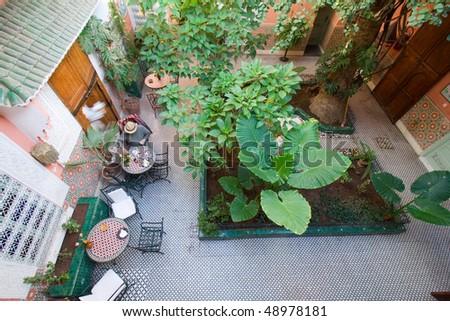 Inner court yard hostel Marrakech - stock photo