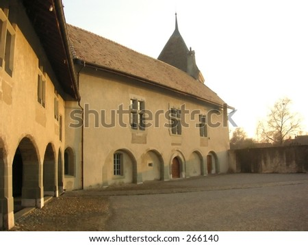 Inner courtyard of the the Chateau Rolles in Switzerland
