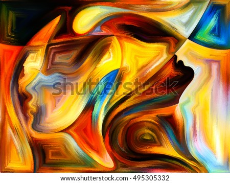 Inner Dialog series. Background composition of  human profiles and vivid paint shapes on the subject of emotions, relationships, human drama, spirituality and design