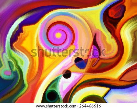 Inner Melody series. Background design of colorful human and musical shapes on the subject of spirituality of music and performing arts - stock photo