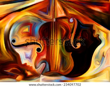 Inner Melody series. Composition of colorful human and musical shapes suitable as a backdrop for the projects on spirituality of music and performing arts - stock photo