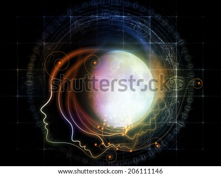 Inner Moon series. Background design of moon, human profile and astrological symbols on the subject of spirit world, dreams, imagination, astrology and the mind
