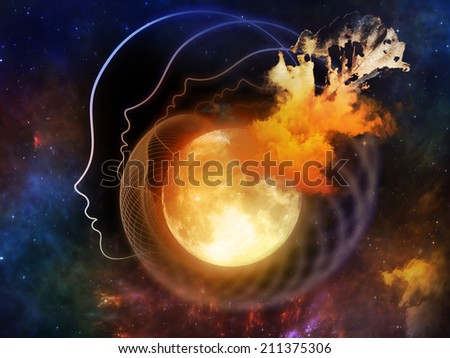 Inner Moon series. Composition of moon, human profile and design elements suitable as a backdrop for the projects on spirit world, dreams, imagination, astrology and the mind