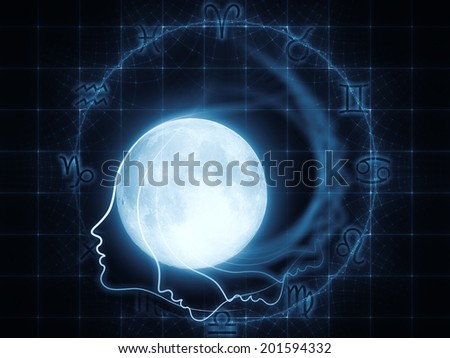 Inner Moon series. Interplay of moon, human profile and astrological symbols on the subject of spirit world, dreams, imagination, astrology and the mind