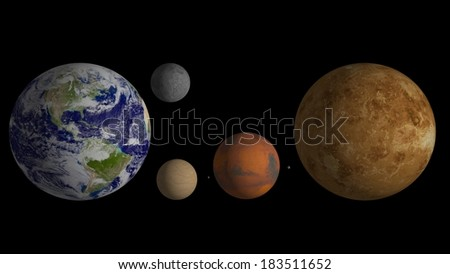 Inner planets: Elements of this image furnished by NASA. - stock photo