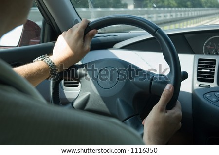 inner view of a car driving on highway