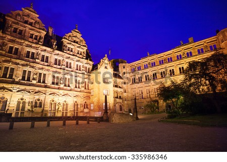 Inner yard of Heidelberg castle during night
