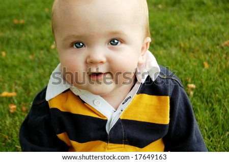 Innocent Baby in the Fall - stock photo