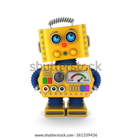 Innocent looking toy robot acting as if it was not his or her fault over white background.