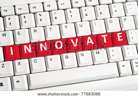 Innovate word on white keyboard