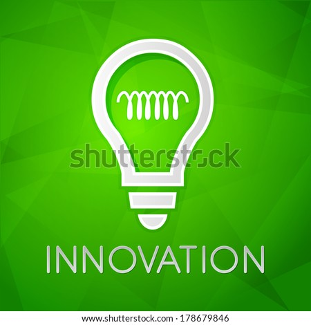 innovation and light bulb sign - text over green background with white symbol, concept web icon flat design - stock photo