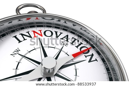 innovation concept compass isolated on white background - stock photo