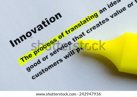 innovation highlighted in yellow - stock photo