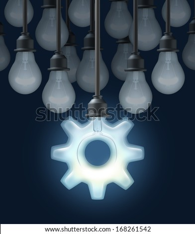 Innovation ideas as a business concept for thinking out of the box as a group of light bulbs and one light shaped as a gear or cog as a symbol of innovative creative technology success on a black. - stock photo