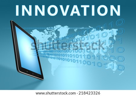 Innovation illustration with tablet computer on blue background - stock photo