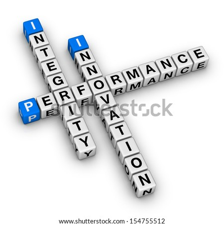 innovation, integrity, performance crossword puzzle - stock photo