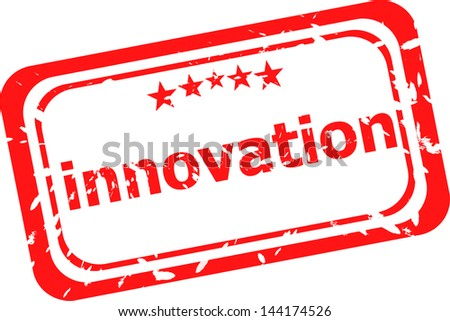 innovation on red rubber stamp over a white background, raster