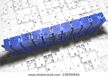Innovation - puzzle 3d render illustration with block letters on blue jigsaw pieces  - stock photo