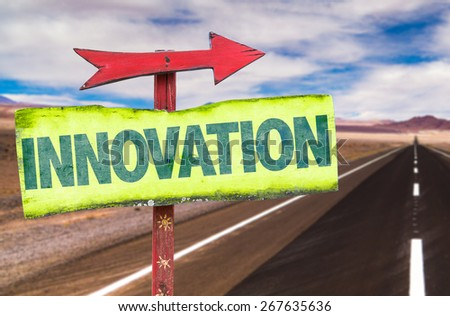 Innovation sign with road background - stock photo