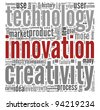 Innovation technology and creativity  concept related words in tag cloud on white - stock vector